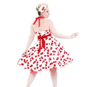 Hearts and Roses London white Cherry Halter dress